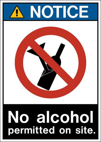 Notice - No Alcohol