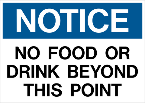 Notice - No Food or Drink