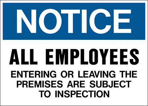 Notice - Employees Entering or Leaving