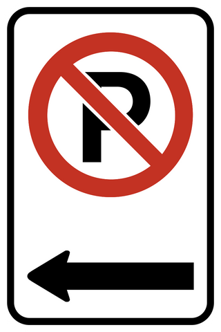 No Parking Arrow Left