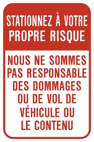 Park at your own Risk French