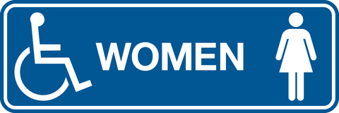 women accessible symbol wording western safety sign