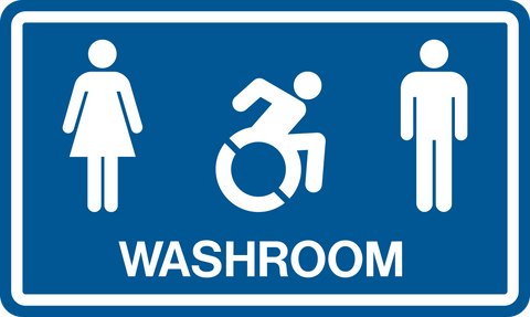 Unisex & Accessible Washroom NEW wheelchair symbol