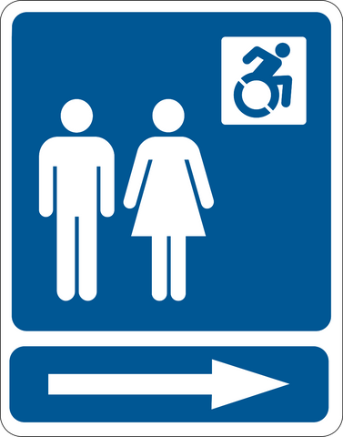 Unisex Accessible Restroom Right New Wheelchair Symbol Western