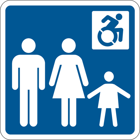 Family & Accessible Washroom NEW wheelchair symbol