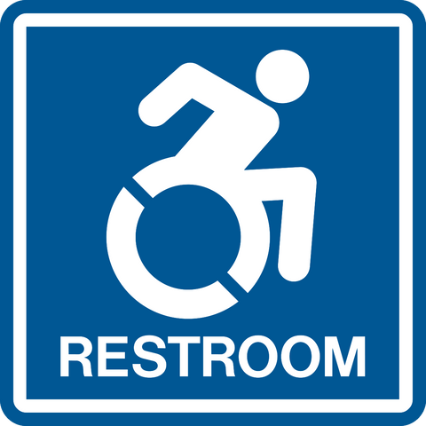 Accessible Restroom NEW wheelchair graphic