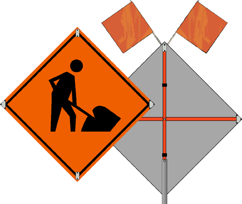 Men Working Roll Up Sign