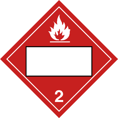Class 2 - Flammable Gas - Blank UN Number