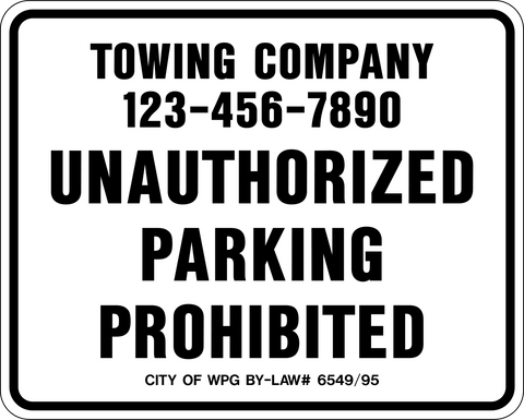 City of Winnipeg Towing Sign