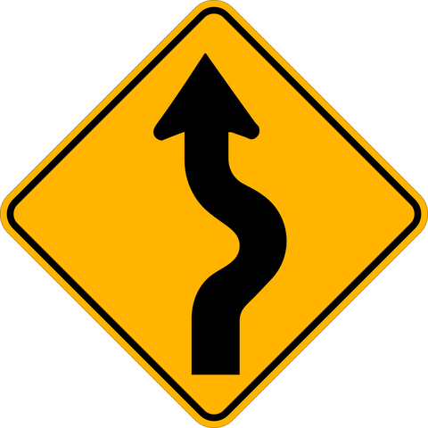 WA-6 R Winding Road Right Ahead