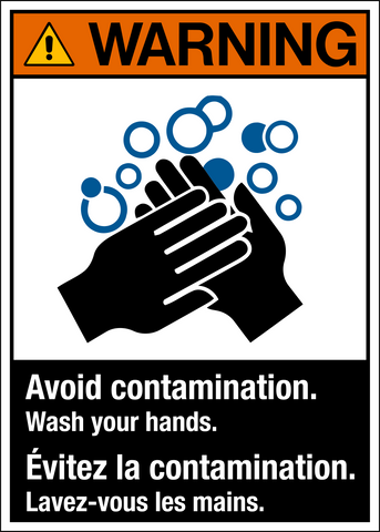 Warning - Wash Hands - Bilingual Text