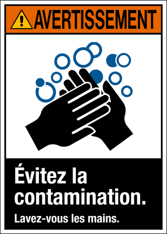 Warning - Wash Hands - French Text