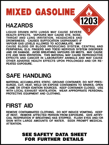 Product Identification Label - Mixed Gasoline