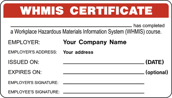 Certificate whmis id certificate western safety sign for Whmis labels template