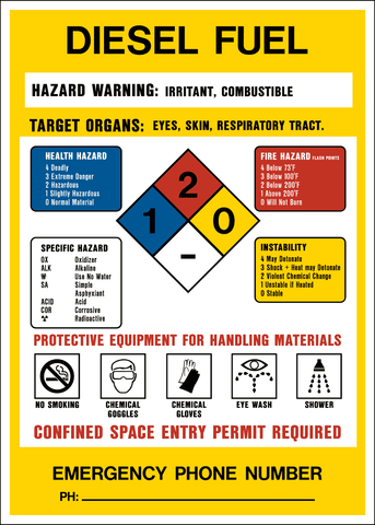 Product Identification Label - Diesel Fuel