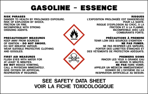Product Identifier Label - Gasoline Bilingual