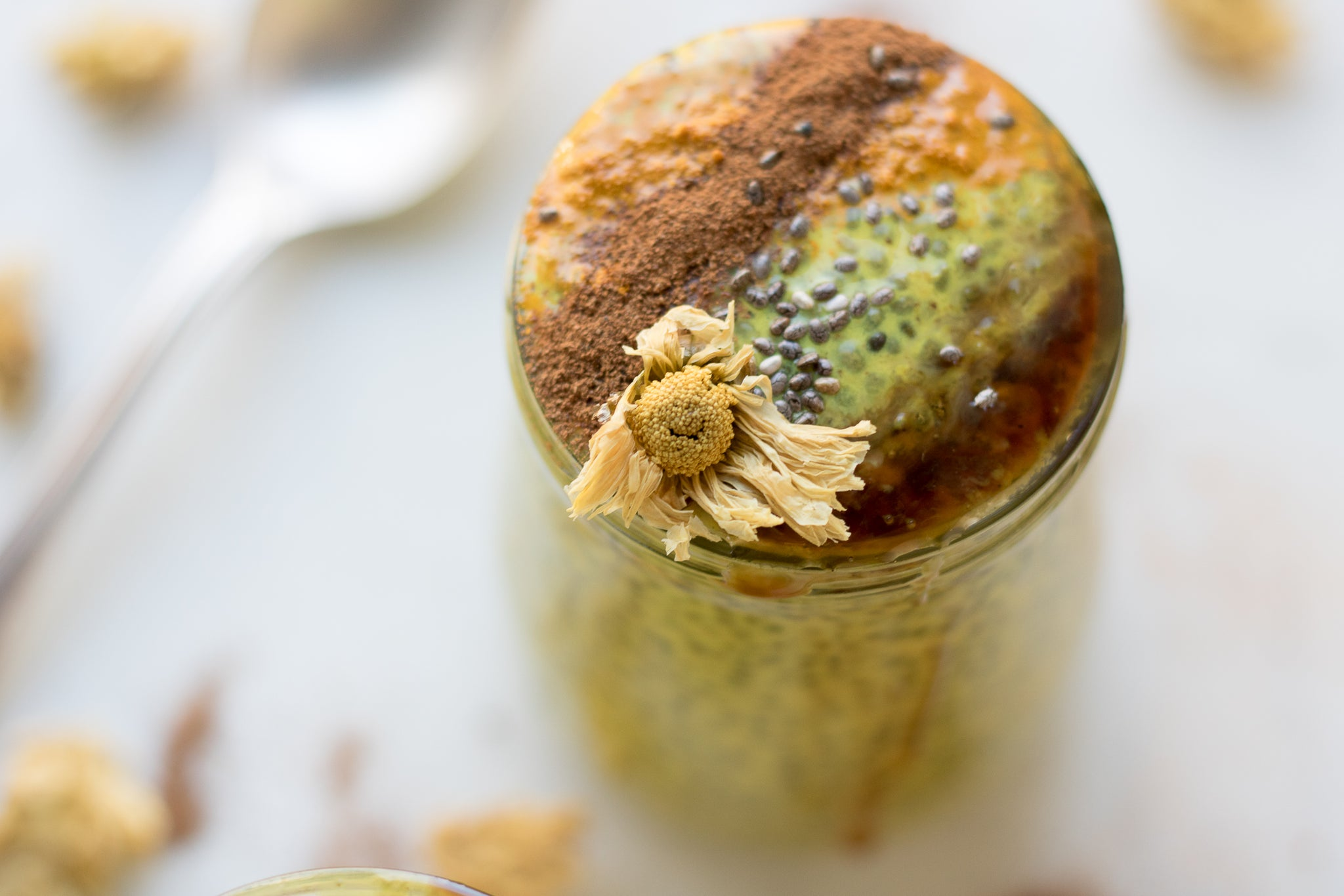 Chrysanthemum-Infused Golden Milk Chia Pudding