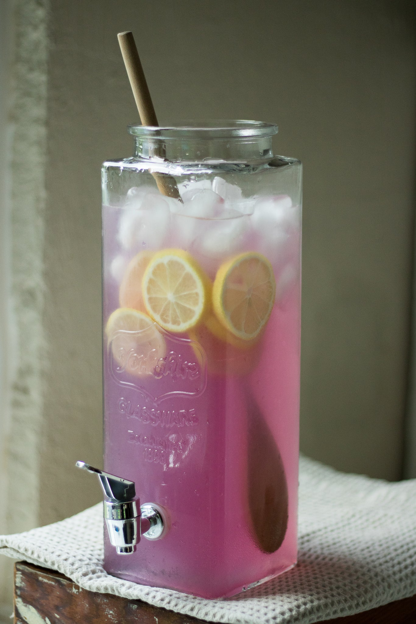 Blue Butterfly Pea Flower Lemonade Recipe in beverage dispenser