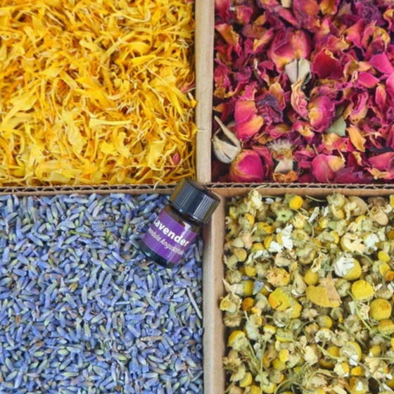 Bulk Botanical Flower Kit (4 pack): Lavender, Marigold, Red Rose Petals and Chamomile