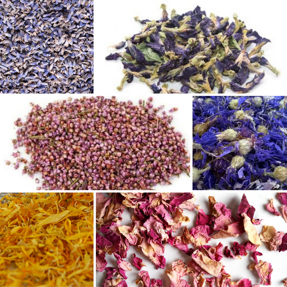 Bulk Botanical Flower Kit (6 pack): Lavender, Pink Rose Petals, Calendula Petals, Rosemary, Orange Peel and Cornflower Whole
