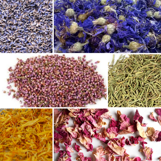 Bulk Botanical Flower Kit (6pack): 1 Cup Each of Ultra Blue Lavender, Cornflower Whole, Heather Flower, Rosemary, Marigold Petals, Pink Rose Petals
