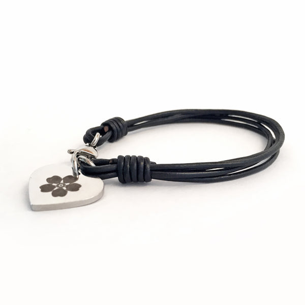 Engraved Heart Pendant on Leather Bracelet