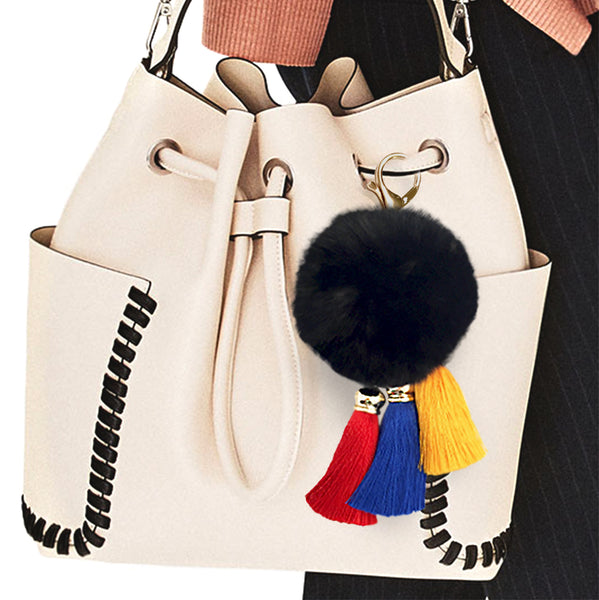 Fur Pom-Pom Purse Charm with Flag Colour Tassels