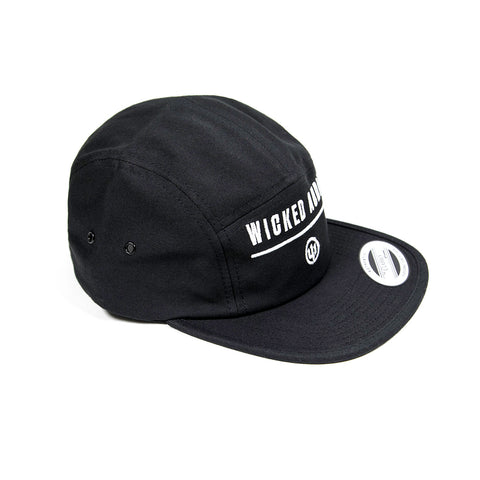 Hat - Black 5 Panel with White Logo