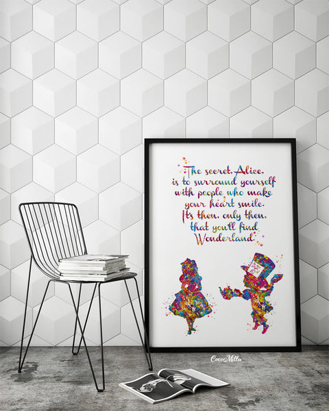 Alice in Wonderland Watercolor Print inspirational Quote Nursery Wall Art Gift Wall Decor Home Decor for Girls Baby Shower Wall Hanging-1763