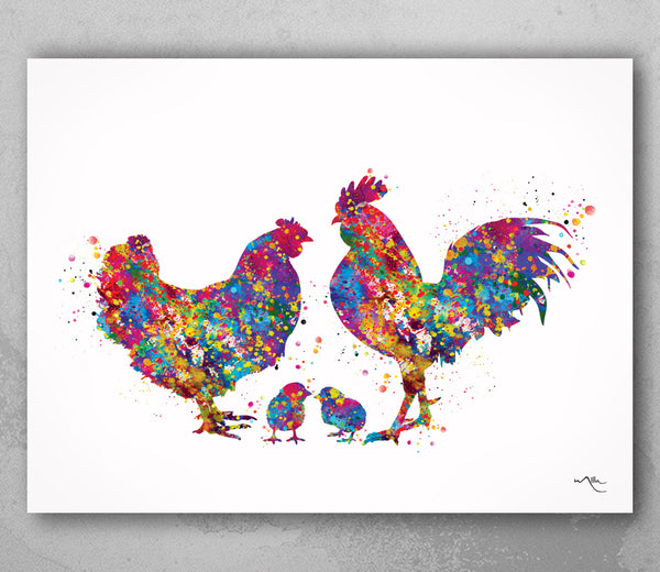 Chicken Family Watercolor Print Housewarming Gift Family Love Nursery Chicken and Chicks Hen and Baby Chicks Farm Animal Country House-1709