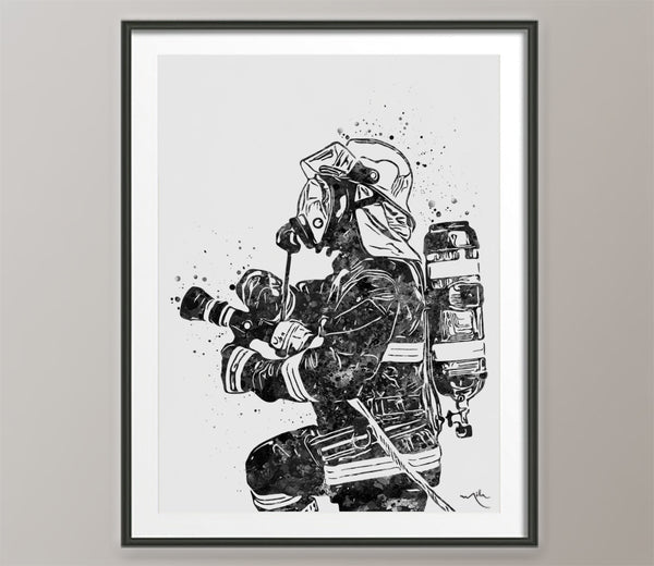 Fireman Firefighter Watercolor Print BW Firefighter Gift Fire Department Fire Soldier Wall Art Wall Decor Rescue Personalized Hero Gift-472