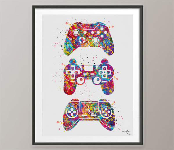 Gamers Art Watercolor Print Joystick Nursery Game Room Decor Wall Art for Kids Boys Girls Teen Game Controller Gaming Gamer Video Game-567