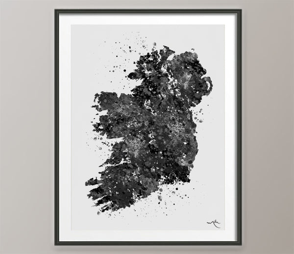 Ireland Watercolor Map Black White Housewarming Gift Art Print Wedding Gift Poster irish all Art Home Decor Wall Hanging Office Decor-548