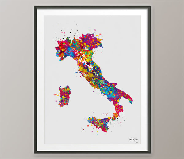 Italy Map Watercolor Print Italy Country Map Art Print Wedding Gift Travel Wall Decor Housewarming Gift Wall Art Homesick Wall Hanging-140