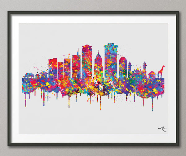 Nairobi Skyline Watercolor Print Kenya City Map Homesick Wanderlust Art Print Wall Wedding Gift African Travel Wall Decor Wall Hanging-569