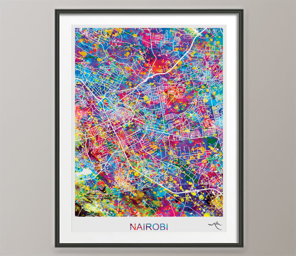 Nairobi City Street Map Watercolor Print Kenya Afro Art Decor Wanderlust Gift Wall Art Wedding African Travel Wall Decor Wall Hanging-571