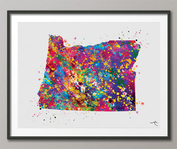 Oregon State Map Watercolor Print Wall Art Wedding Gift Homesick Anniversary Art State Wall Art Housewarming Gift Decor Wall Hanging-351