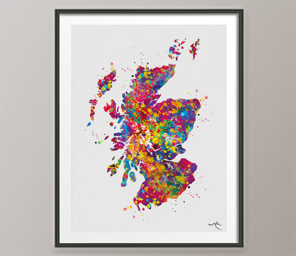 Scotland Map Watercolor Print Map Travel Gift Wall Art Wedding Gift Poster Wall Decor Art Home Decor Housewarming Gift Wall Hanging-1688