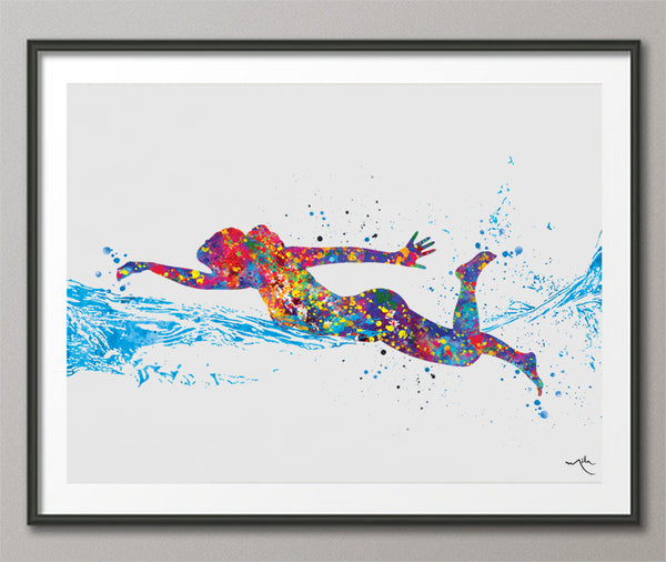 Swimmer Girl Watercolor Print Female Swimmer Art Gift Housewarming Swimming Wall Decor Girl's Room Decor Nursery Sport Winner Wall Art-568