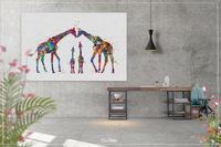 Giraffe Family Watercolor Print For Kids Nursery Decor New Family Baby Shower Wall Art Wall Decor For Kids Christmas Housewarming Gift-1434 - CocoMilla