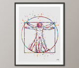 Vitruvian Man Leonardo Da Vinci Watercolor Print Human Anatomy Wall Decor Orthopedic Medical Art Decor Wall Hanging Biology Science Art-513 - CocoMilla