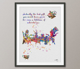 Mad Hatter Tea Party Alice in Wonderland Watercolor Print Tea Time Kitchen Art For Kids Wedding gift Wall Hanging [NO 136] - CocoMilla