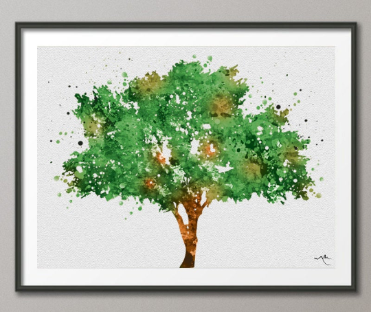 Tree Art Watercolor Print Nature Print Forest Painting Cedar Tree Print Wedding Gift Home Decor Wall Decor Green Decor Wall Hanging-283 - CocoMilla