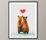 Bear Love Heart Animal Art Bears Print Wall Decor Gift idea Friendship Bear Poster Gay Bear Wall Hanging ANNIVERSARY Gift Christmas Gift-698 - CocoMilla