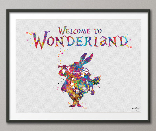 Welcome to Wonderland White Rabbit Quote Alice in Wonderland Watercolor Print Nursery Decor Party Home Decor Birthday Gift Wall Hanging-1281 - CocoMilla
