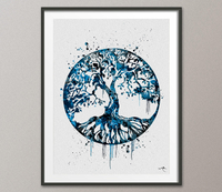 Tree of Life Watercolor Print Blue Wall Art Celtic Tree Wedding Gift Yoga Print Love Family Wall Decor Housewares Buddha Home Decor-1206 - CocoMilla