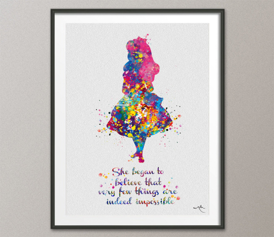 Alice in Wonderland Watercolor Print inspirational Quote Nursery Wall Art Gift Wall Decor Home Decor for Girls Baby Shower Wall Hanging-633 - CocoMilla