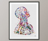 Human Anatomy Watercolor Print Cardiology Decor Medical Art Print Head and Neck Medical Office Clinic Decor Doctor Medical Student Gift-970 - CocoMilla