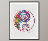 Yin Yang Tree of Life 2 Watercolor Art Print Wall Art Poster Wedding Gift Celtic Tree Love Family Giclee Housewares Buddha Zen Decor-1047 - CocoMilla