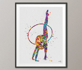 Rhythmic Gymnastics with Hoop Watercolor Print Sports Art Teen Room Decor Nursery Art Sports Gift Girls Dancer Decor Wall Art for Kids-1302 - CocoMilla